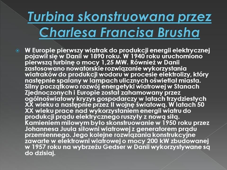  W Europie pierwszy wiatrak do produkcji energii elektrycznej pojawił się w Danii w 1890 roku. W 1940 roku uruchomiono pierwszą turbinę o mocy 1,25 M