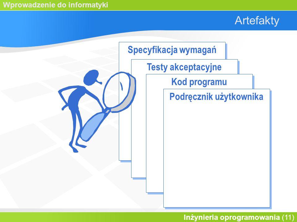 Wprowadzenie do informatyki Inżynieria oprogramowania (11) Artefakty Specyfikacja wymagań Testy akceptacyjne Kod programu Podręcznik użytkownika