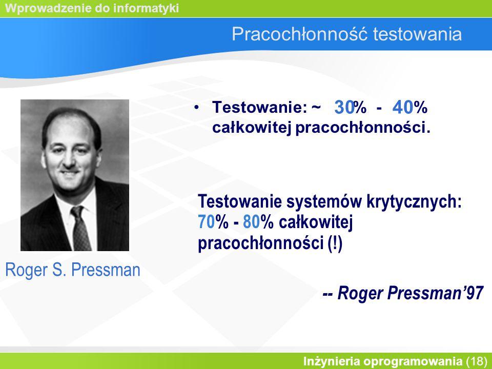Wprowadzenie do informatyki Inżynieria oprogramowania (18) Pracochłonność testowania Testowanie: ~ % - % całkowitej pracochłonności.
