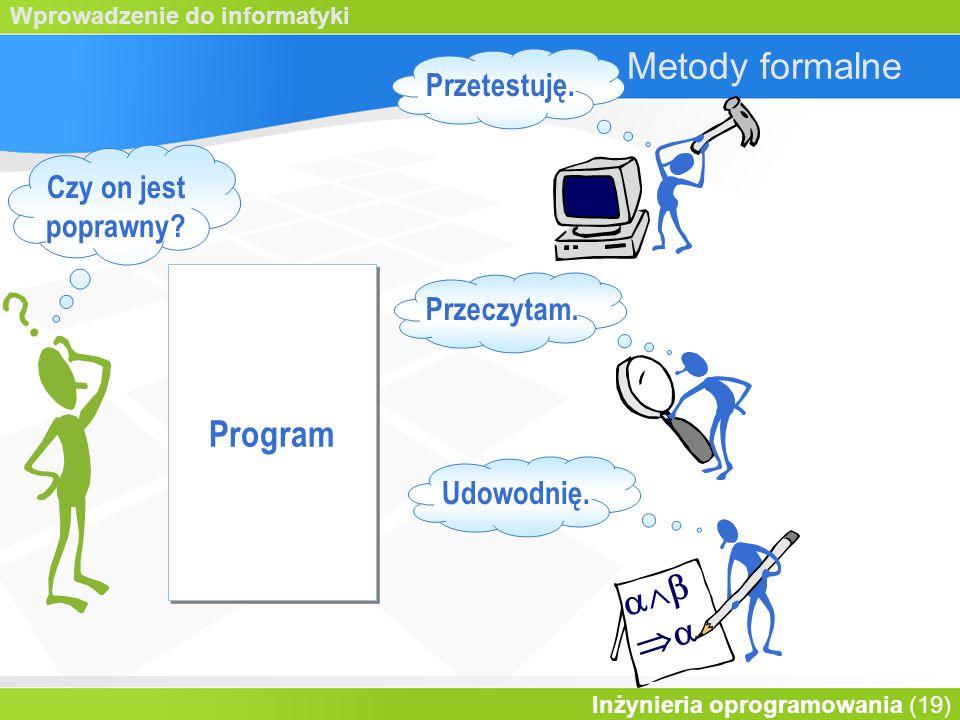 Wprowadzenie do informatyki Inżynieria oprogramowania (19) Metody formalne   Przetestuję.
