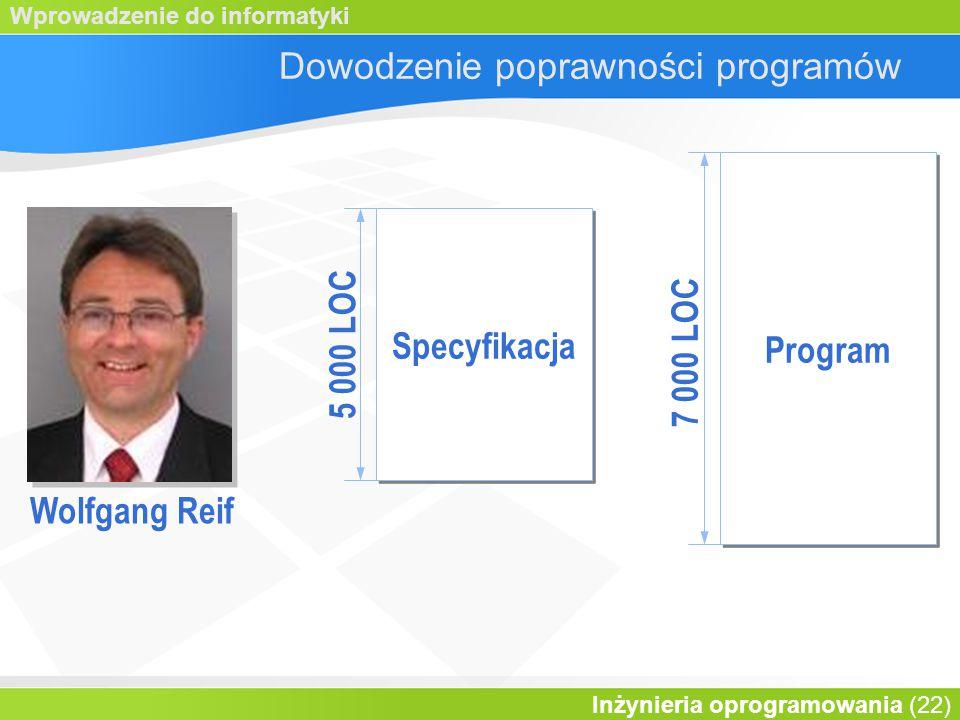 Wprowadzenie do informatyki Inżynieria oprogramowania (22) Dowodzenie poprawności programów Wolfgang Reif Program Specyfikacja 7 000 LOC 5 000 LOC