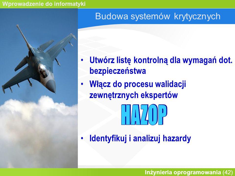 Wprowadzenie do informatyki Inżynieria oprogramowania (42) Budowa systemów krytycznych Utwórz listę kontrolną dla wymagań dot.