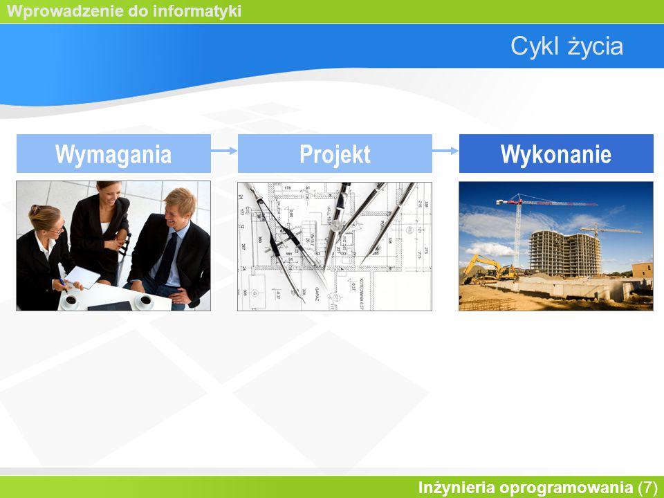 Wprowadzenie do informatyki Inżynieria oprogramowania (7) Cykl życia WymaganiaProjektWykonanie