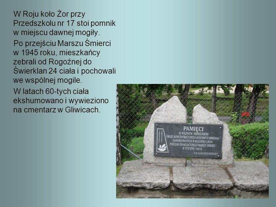 W Roju koło Żor przy Przedszkolu nr 17 stoi pomnik w miejscu dawnej mogiły. Po przejściu Marszu Śmierci w 1945 roku, mieszkańcy zebrali od Rogoźnej do