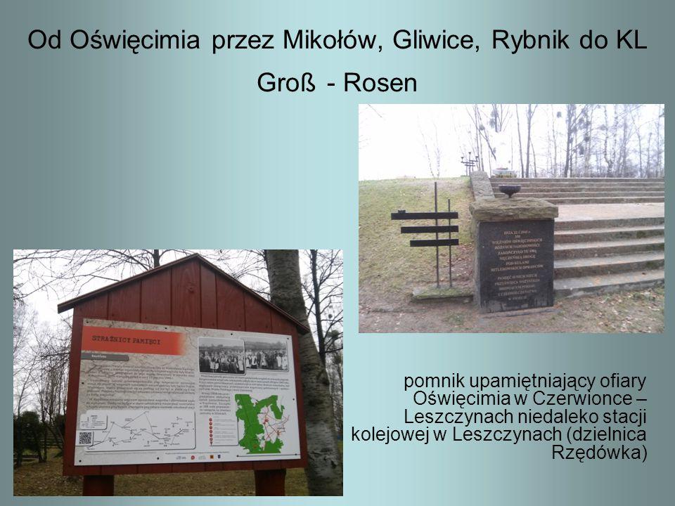 Od Oświęcimia przez Mikołów, Gliwice, Rybnik do KL Groß - Rosen pomnik upamiętniający ofiary Oświęcimia w Czerwionce – Leszczynach niedaleko stacji ko