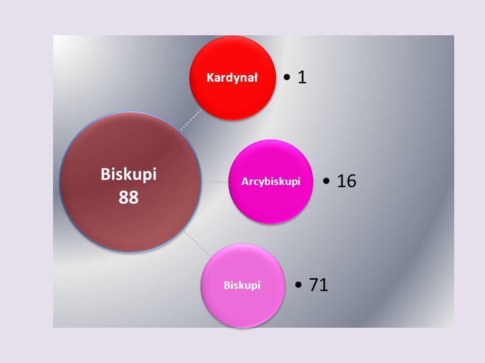 Kardynał 1 Arcybiskupi 16 Biskupi 71 Biskupi 88
