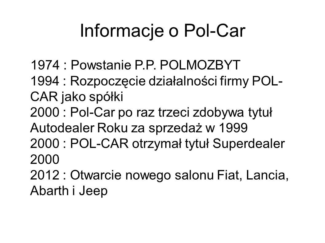 Informacje o Pol-Car 1974 : Powstanie P.P. POLMOZBYT 1994 : Rozpoczęcie działalności firmy POL- CAR jako spółki 2000 : Pol-Car po raz trzeci zdobywa t