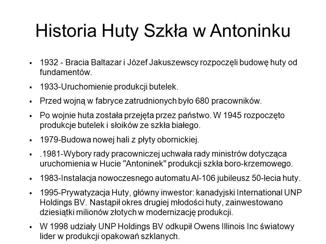 Historia Huty Szkła w Antoninku  1932 - Bracia Baltazar i Józef Jakuszewscy rozpoczęli budowę huty od fundamentów.  1933-Uruchomienie produkcji bute