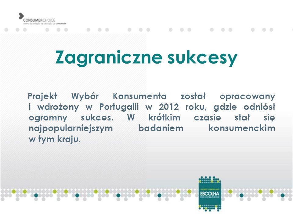 Zagraniczne sukcesy Projekt Wybór Konsumenta został opracowany i wdrożony w Portugalii w 2012 roku, gdzie odniósł ogromny sukces.