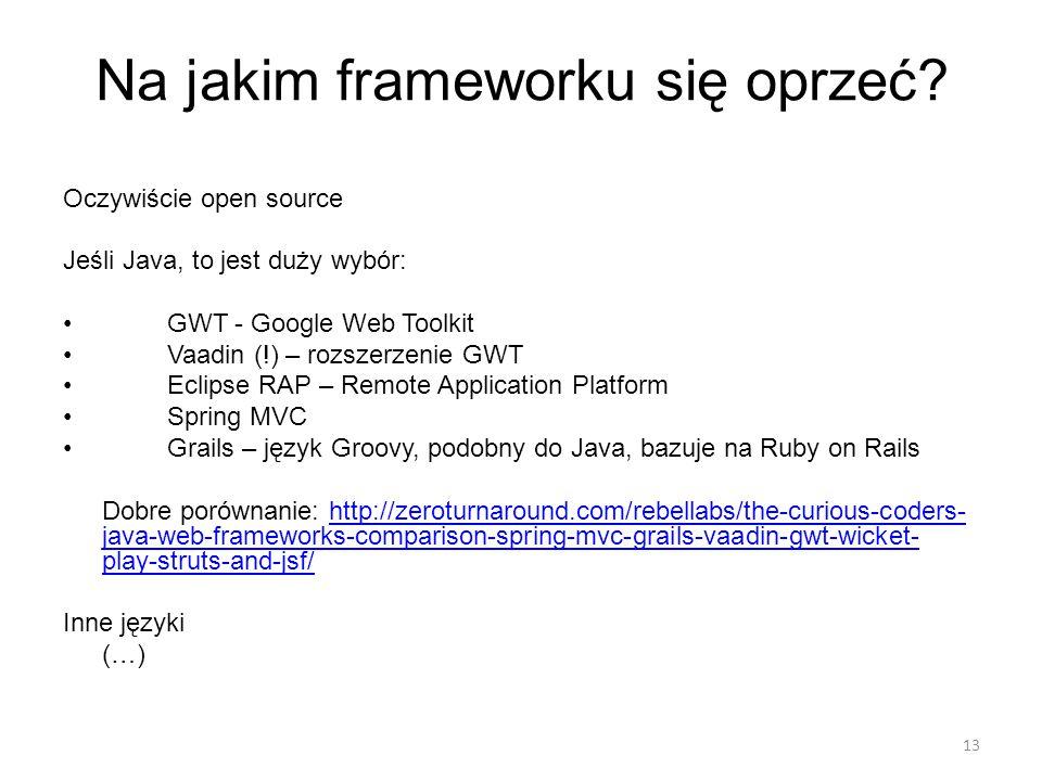 Na jakim frameworku się oprzeć.
