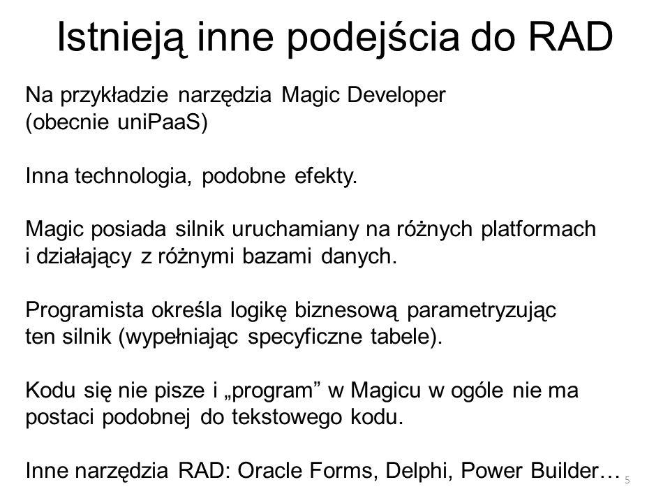 Istnieją inne podejścia do RAD Na przykładzie narzędzia Magic Developer (obecnie uniPaaS) Inna technologia, podobne efekty.