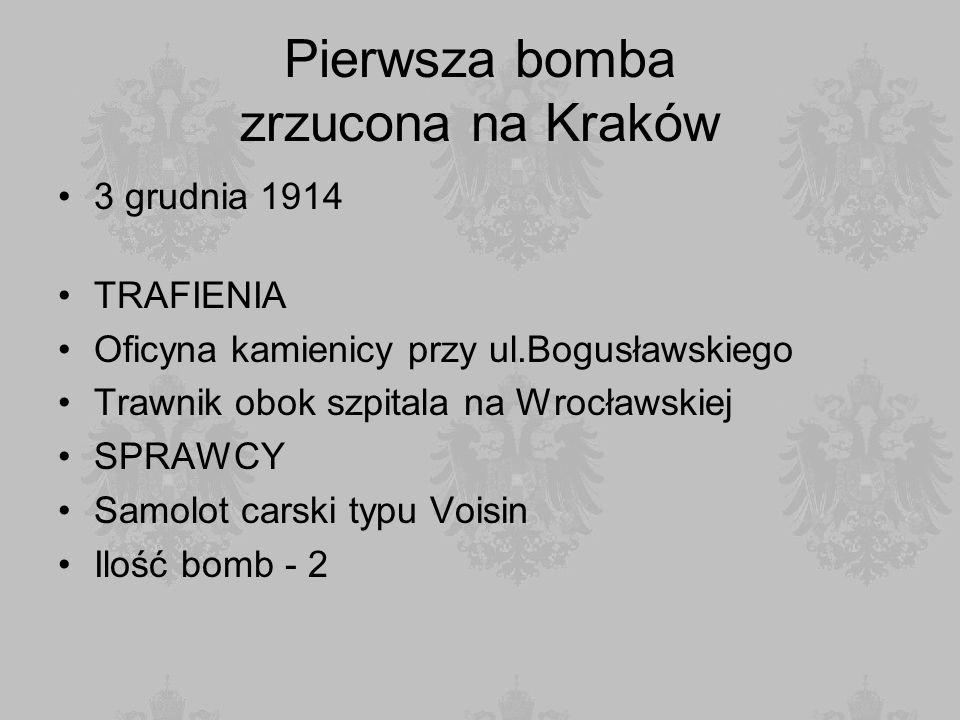 Pierwsza bomba zrzucona na Kraków 3 grudnia 1914 TRAFIENIA Oficyna kamienicy przy ul.Bogusławskiego Trawnik obok szpitala na Wrocławskiej SPRAWCY Samo