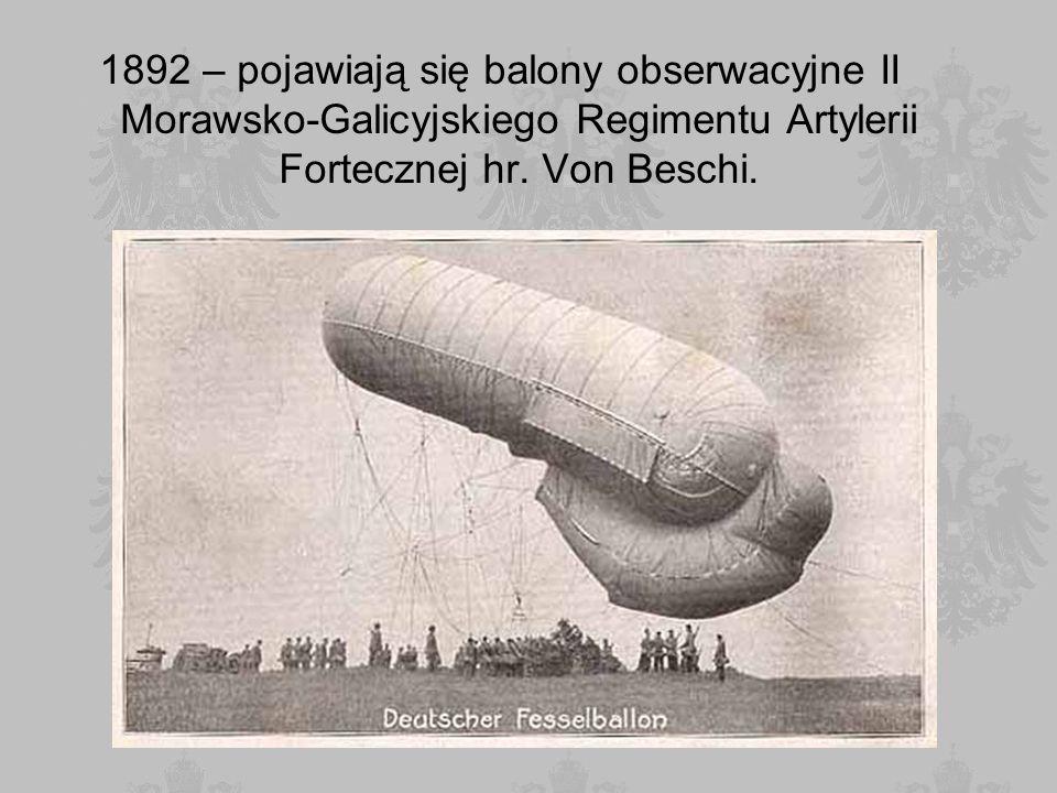 1892 – pojawiają się balony obserwacyjne II Morawsko-Galicyjskiego Regimentu Artylerii Fortecznej hr. Von Beschi.
