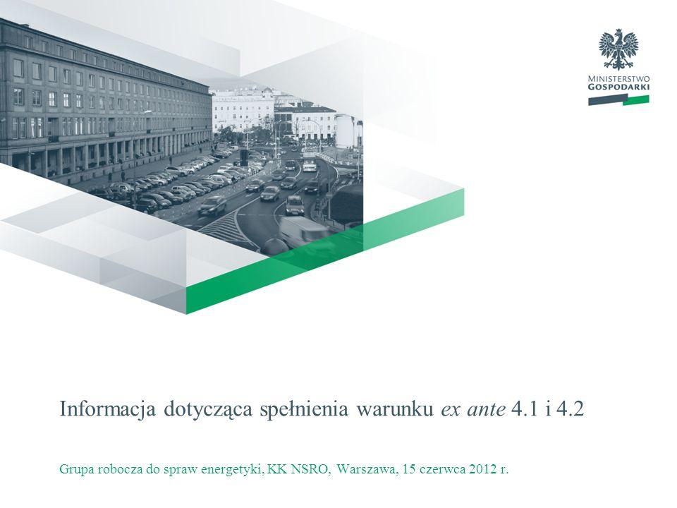 Informacja dotycząca spełnienia warunku ex ante 4.1 i 4.2 Grupa robocza do spraw energetyki, KK NSRO, Warszawa, 15 czerwca 2012 r.