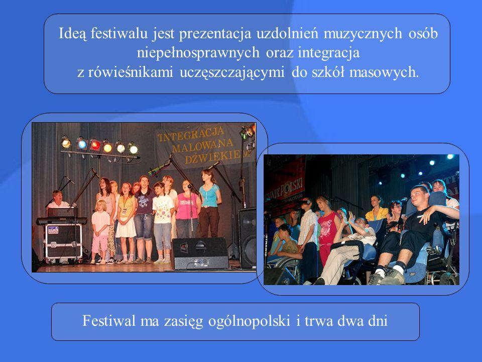 Ideą festiwalu jest prezentacja uzdolnień muzycznych osób niepełnosprawnych oraz integracja z rówieśnikami uczęszczającymi do szkół masowych. Festiwal