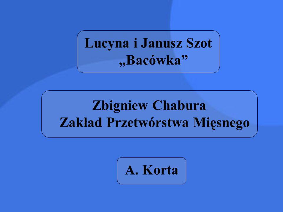 """Lucyna i Janusz Szot """"Bacówka"""" Zbigniew Chabura Zakład Przetwórstwa Mięsnego A. Korta"""