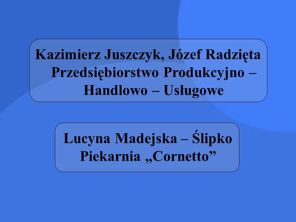 """Kazimierz Juszczyk, Józef Radzięta Przedsiębiorstwo Produkcyjno – Handlowo – Usługowe Lucyna Madejska – Ślipko Piekarnia """"Cornetto"""""""
