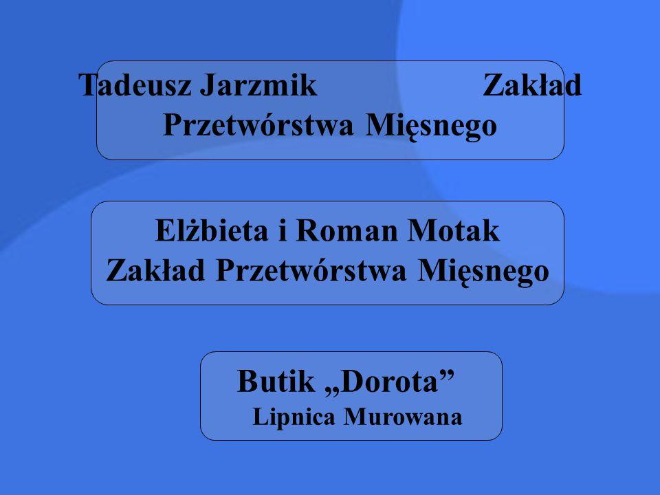 """Tadeusz Jarzmik Zakład Przetwórstwa Mięsnego Elżbieta i Roman Motak Zakład Przetwórstwa Mięsnego Butik """"Dorota"""" Lipnica Murowana"""