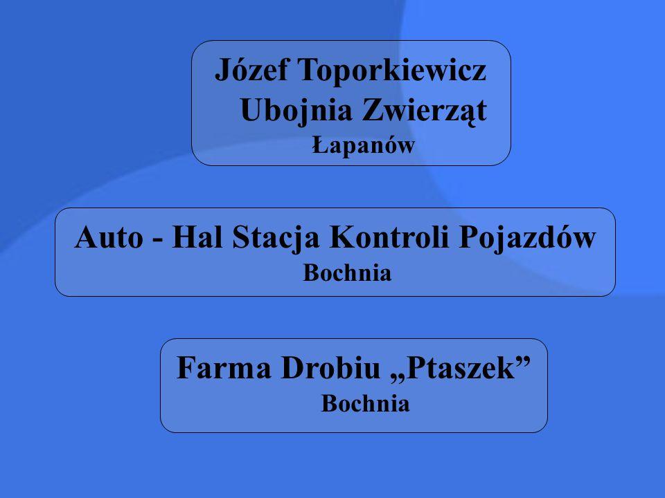 """Józef Toporkiewicz Ubojnia Zwierząt Łapanów Auto - Hal Stacja Kontroli Pojazdów Bochnia Farma Drobiu """"Ptaszek"""" Bochnia"""