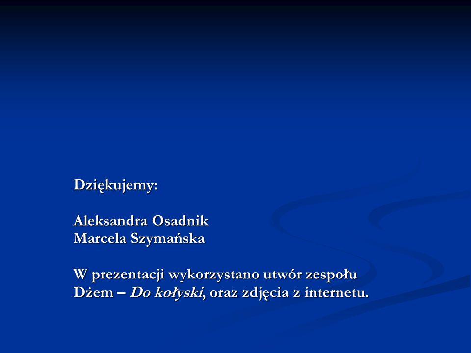 Dziękujemy: Aleksandra Osadnik Marcela Szymańska W prezentacji wykorzystano utwór zespołu Dżem – Do kołyski, oraz zdjęcia z internetu.