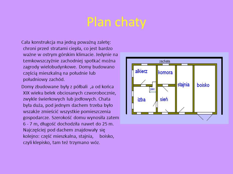 Plan chaty Cała konstrukcja ma jedną poważną zaletę: chroni przed stratami ciepła, co jest bardzo ważne w ostrym górskim klimacie. Jedynie na Łemkowsz