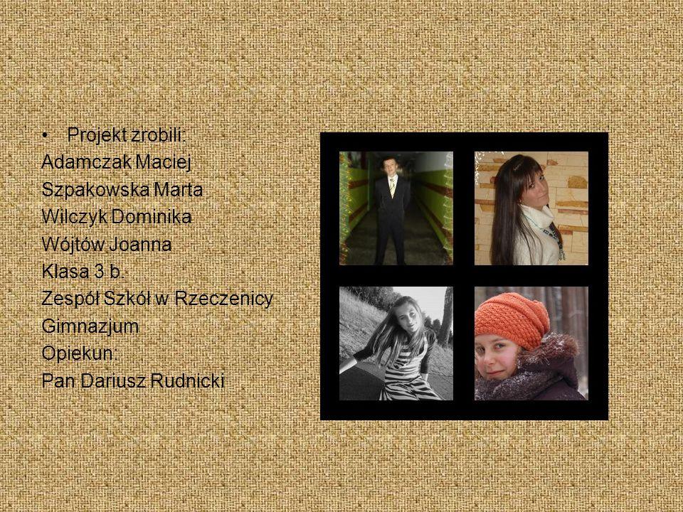 Projekt zrobili: Adamczak Maciej Szpakowska Marta Wilczyk Dominika Wójtów Joanna Klasa 3 b.