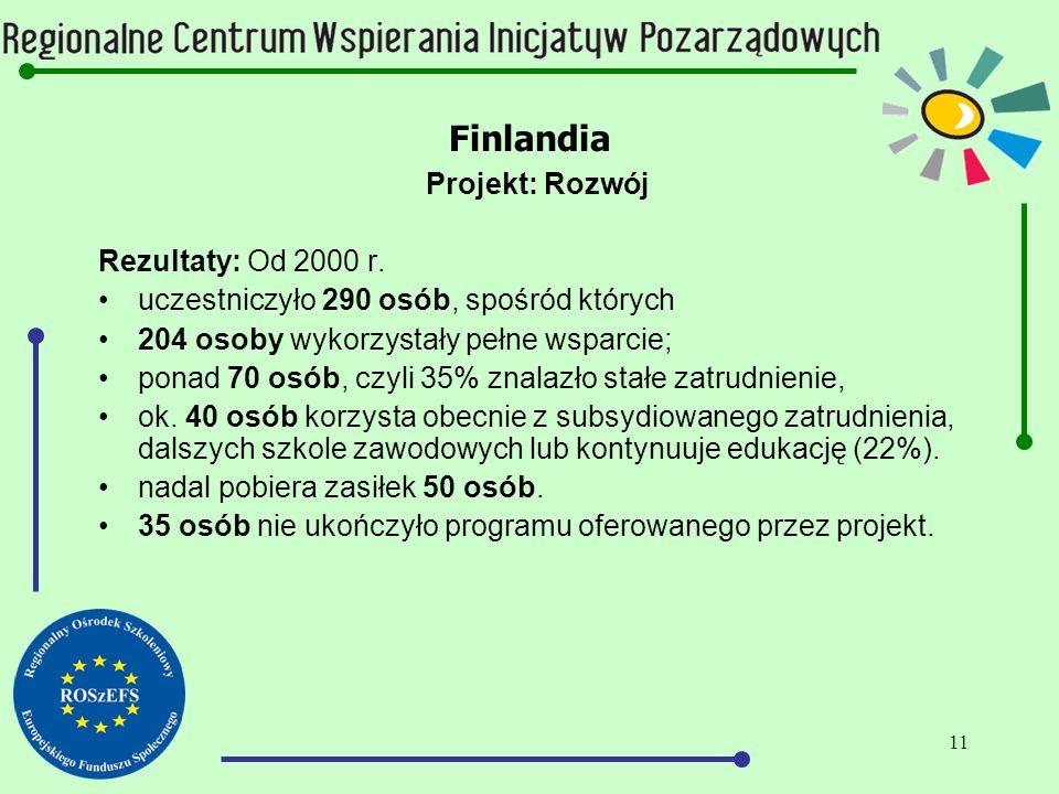 11 Finlandia Projekt: Rozwój Rezultaty: Od 2000 r.