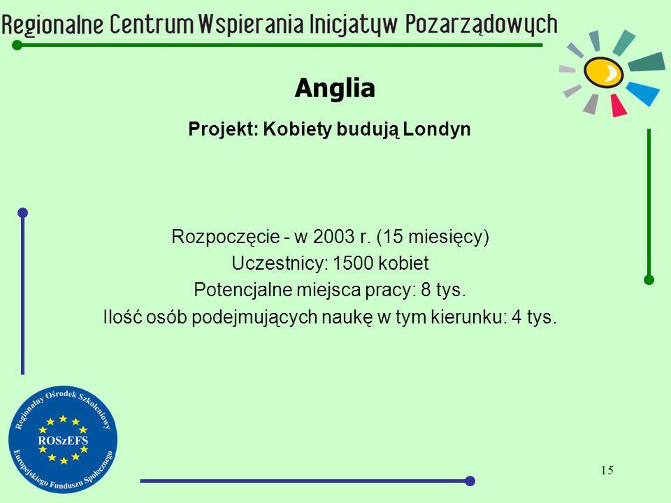 15 Anglia Projekt: Kobiety budują Londyn Rozpoczęcie - w 2003 r.