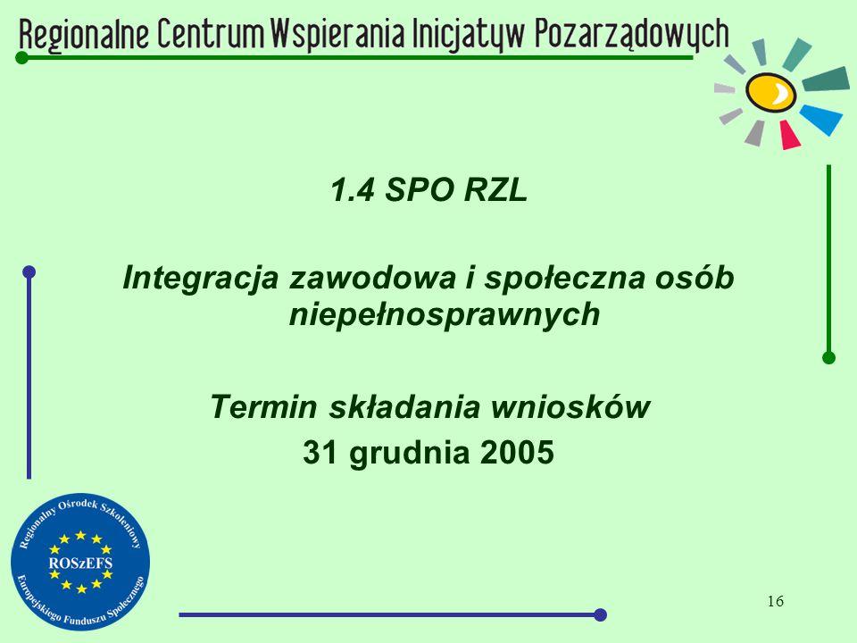 16 1.4 SPO RZL Integracja zawodowa i społeczna osób niepełnosprawnych Termin składania wniosków 31 grudnia 2005