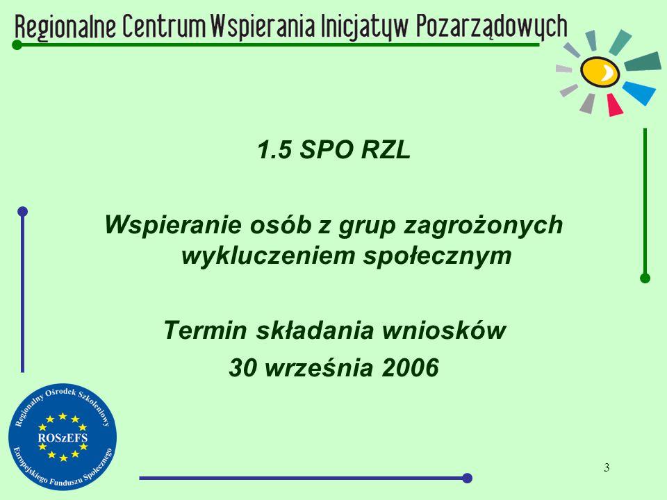 3 1.5 SPO RZL Wspieranie osób z grup zagrożonych wykluczeniem społecznym Termin składania wniosków 30 września 2006
