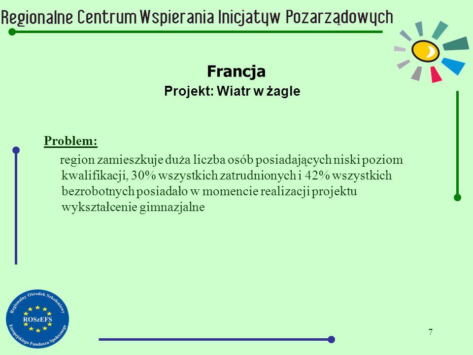 8 Francja Projekt: Wiatr w żagle Działania: -działania edukacyjne zmierzające do podwyższenia poziomu wiedzy ogólnej (matematyka, logiczne rozumowanie, formy wypowiedzi ustnej i pisemnej) -działania mające na celu rozwój osobisty -działania pomocowe w zakresie przygotowania do egzaminów państwowych