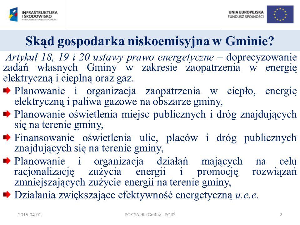 Sprawność całkowita systemu konwencjonalnego PGK SA dla Gminy - POIiŚ2015-04-0133