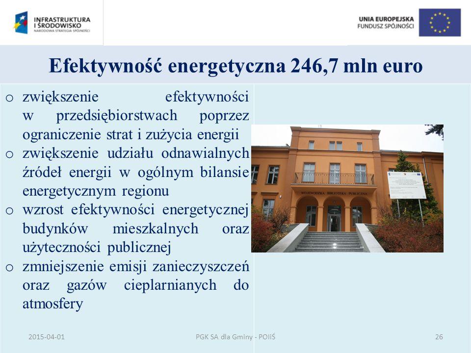 Efektywność energetyczna 246,7 mln euro o zwiększenie efektywności w przedsiębiorstwach poprzez ograniczenie strat i zużycia energii o zwiększenie udz