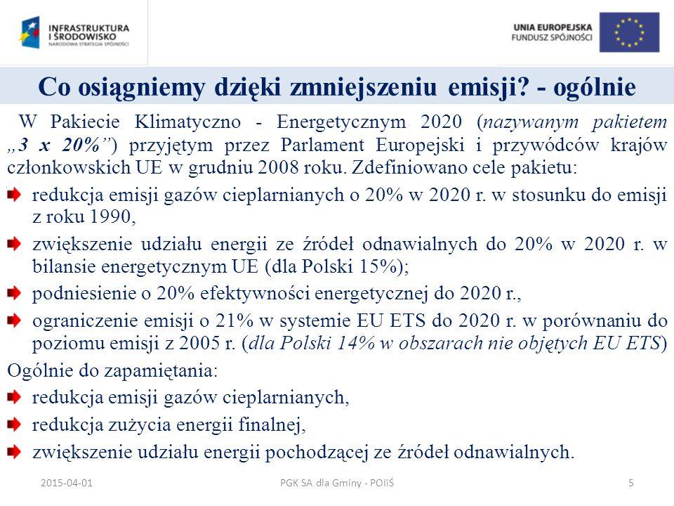 Efektywność energetyczna 246,7 mln euro o zwiększenie efektywności w przedsiębiorstwach poprzez ograniczenie strat i zużycia energii o zwiększenie udziału odnawialnych źródeł energii w ogólnym bilansie energetycznym regionu o wzrost efektywności energetycznej budynków mieszkalnych oraz użyteczności publicznej o zmniejszenie emisji zanieczyszczeń oraz gazów cieplarnianych do atmosfery PGK SA dla Gminy - POIiŚ2015-04-0126