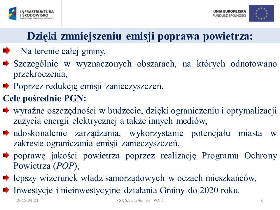 Środowisko przyrodnicze 147,3 mln euro o ochrona i efektywne wykorzystanie zasobów naturalnych dla wzrostu konkurencyjności o poprawa gospodarki odpadami w województwie o więcej oczyszczonych ścieków i lepsza jakość wody o wzrost bezpieczeństwa regionu poprzez zapobieganie i zarządzanie ryzykiem wystąpienia klęsk żywiołowych i katastrof ekologicznych PGK SA dla Gminy - POIiŚ2015-04-0127