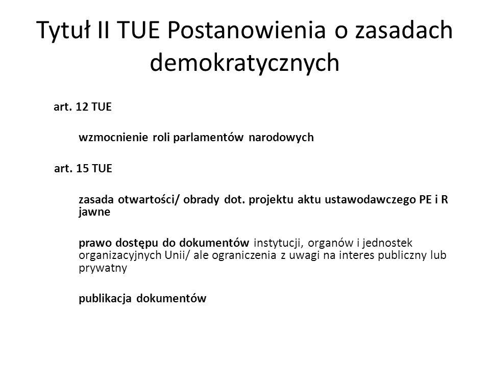 Tytuł II TUE Postanowienia o zasadach demokratycznych art.