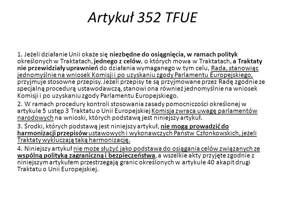 Artykuł 352 TFUE 1.