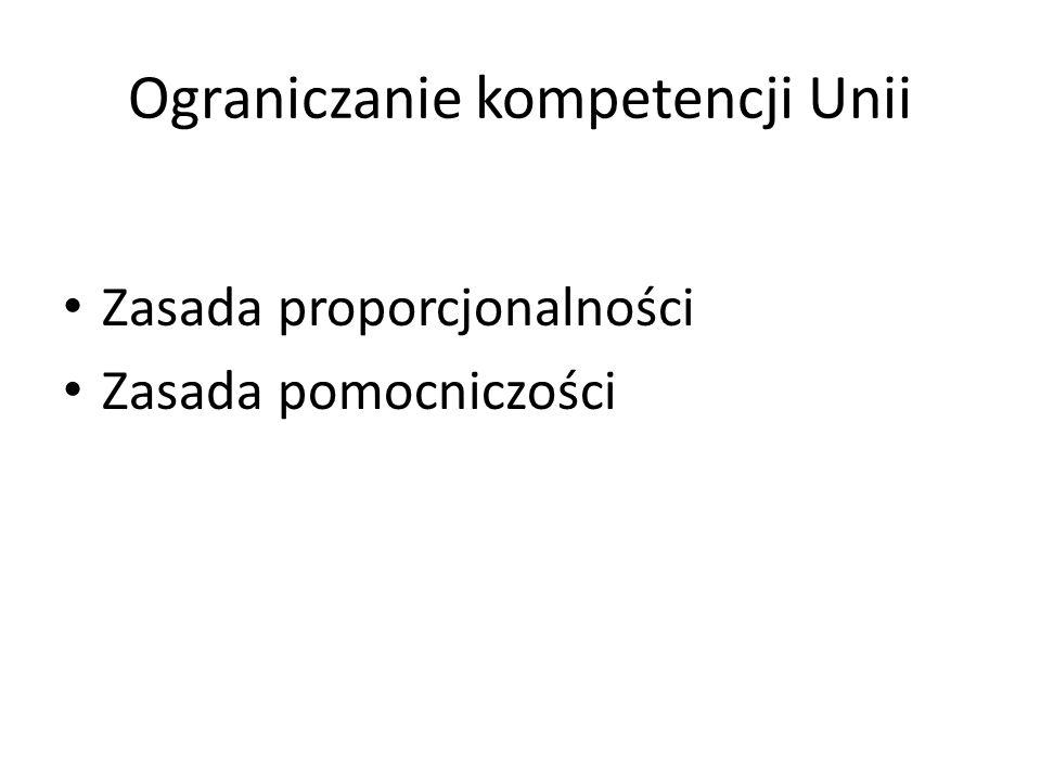 Ograniczanie kompetencji Unii Zasada proporcjonalności Zasada pomocniczości