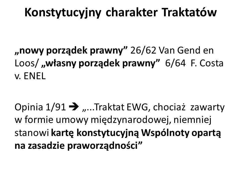 """Konstytucyjny charakter Traktatów """"nowy porządek prawny 26/62 Van Gend en Loos/ """"własny porządek prawny 6/64 F."""