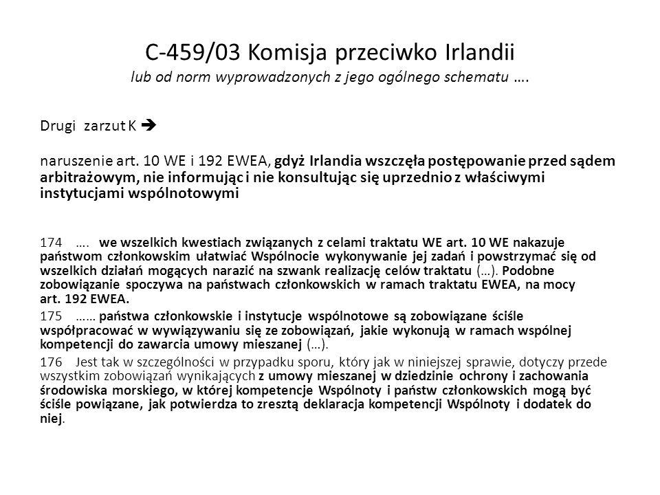 C-459/03 Komisja przeciwko Irlandii lub od norm wyprowadzonych z jego ogólnego schematu ….