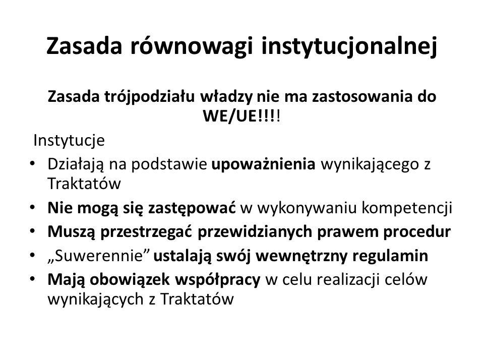 Zasada równowagi instytucjonalnej Zasada trójpodziału władzy nie ma zastosowania do WE/UE!!!.