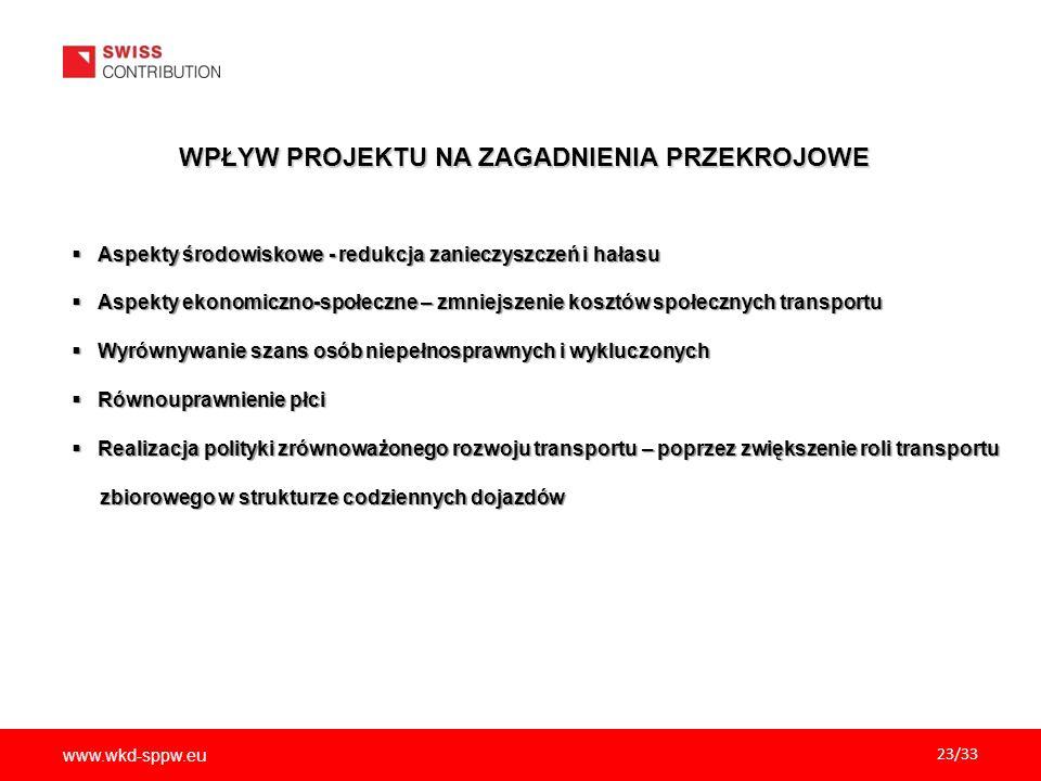 www.wkd-sppw.eu 23/33 WPŁYW PROJEKTU NA ZAGADNIENIA PRZEKROJOWE  Aspekty środowiskowe - redukcja zanieczyszczeń i hałasu  Aspekty ekonomiczno-społec