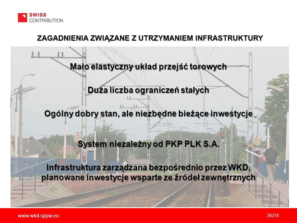 www.wkd-sppw.eu 26/33 ZAGADNIENIA ZWIĄZANE Z UTRZYMANIEM INFRASTRUKTURY Mało elastyczny układ przejść torowych Duża liczba ograniczeń stałych Ogólny dobry stan, ale niezbędne bieżące inwestycje System niezależny od PKP PLK S.A.