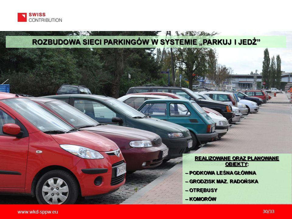 """www.wkd-sppw.eu 30/33 ROZBUDOWA SIECI PARKINGÓW W SYSTEMIE """"PARKUJ I JEDŹ"""" REALIZOWANE ORAZ PLANOWANE OBIEKTY: – PODKOWA LEŚNA GŁÓWNA – GRODZISK MAZ."""