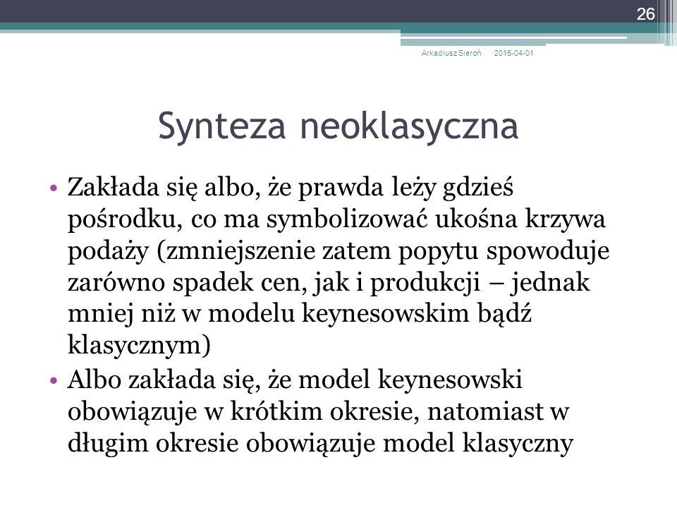 Synteza neoklasyczna Zakłada się albo, że prawda leży gdzieś pośrodku, co ma symbolizować ukośna krzywa podaży (zmniejszenie zatem popytu spowoduje za