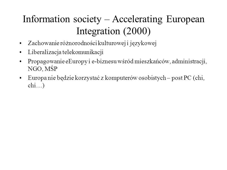 Information society – Accelerating European Integration (2000) Zachowanie różnorodności kulturowej i językowej Liberalizacja telekomunikacji Propagowanie eEuropy i e-biznesu wśród mieszkańców, administracji, NGO, MŚP Europa nie będzie korzystać z komputerów osobistych – post PC (chi, chi…)