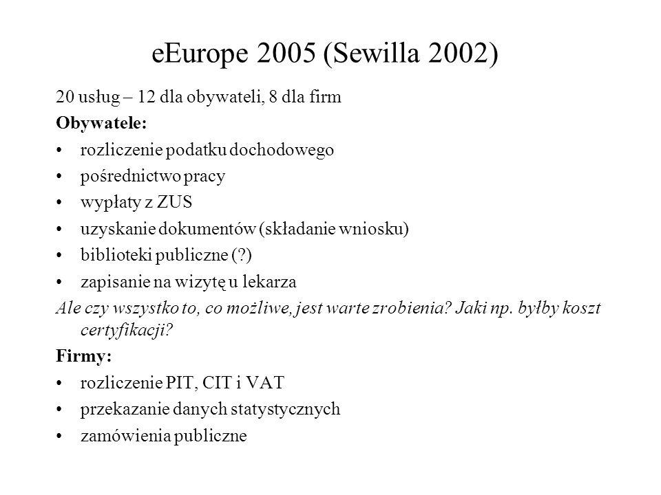 eEurope 2005 (Sewilla 2002) 20 usług – 12 dla obywateli, 8 dla firm Obywatele: rozliczenie podatku dochodowego pośrednictwo pracy wypłaty z ZUS uzyskanie dokumentów (składanie wniosku) biblioteki publiczne (?) zapisanie na wizytę u lekarza Ale czy wszystko to, co możliwe, jest warte zrobienia.