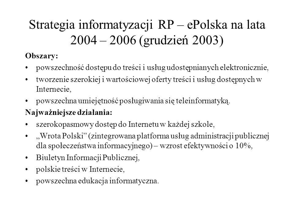 Strategia informatyzacji RP – ePolska na lata 2004 – 2006 (grudzień 2003) Obszary: powszechność dostępu do treści i usług udostępnianych elektronicznie, tworzenie szerokiej i wartościowej oferty treści i usług dostępnych w Internecie, powszechna umiejętność posługiwania się teleinformatyką.