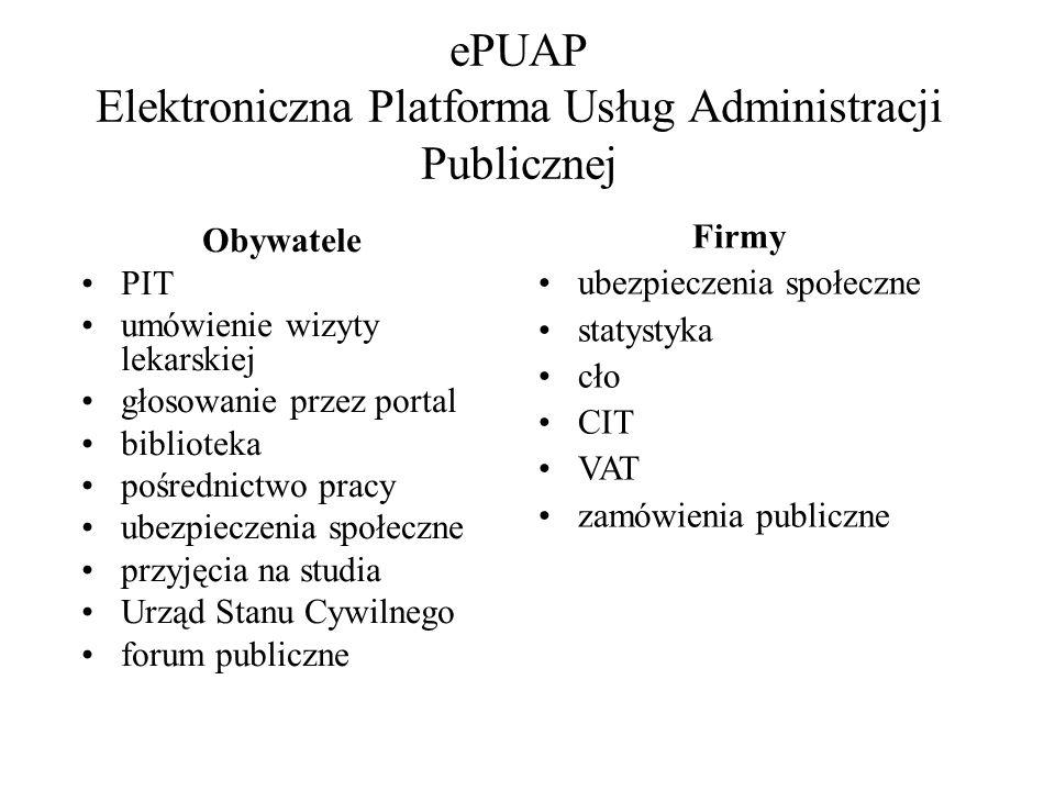 ePUAP Elektroniczna Platforma Usług Administracji Publicznej Obywatele PIT umówienie wizyty lekarskiej głosowanie przez portal biblioteka pośrednictwo pracy ubezpieczenia społeczne przyjęcia na studia Urząd Stanu Cywilnego forum publiczne Firmy ubezpieczenia społeczne statystyka cło CIT VAT zamówienia publiczne