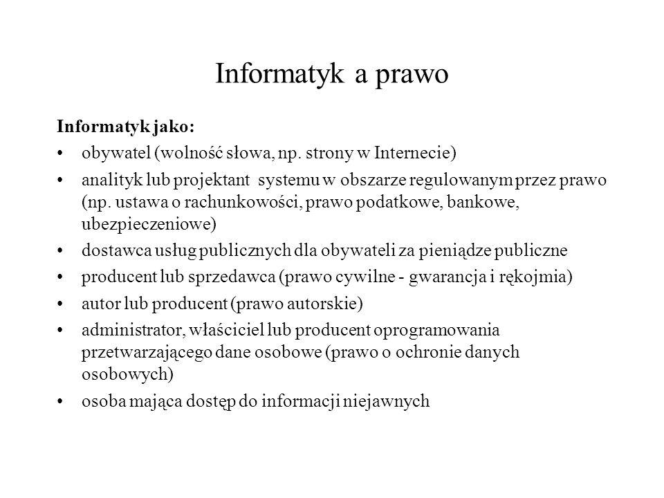 Informatyk a prawo Informatyk jako: obywatel (wolność słowa, np.